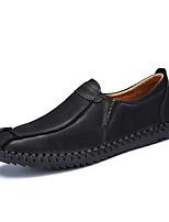 Недорогие -Муж. обувь Натуральная кожа Весна Осень Удобная обувь Мокасины и Свитер для Повседневные Черный Коричневый Хаки