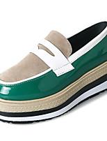 baratos -Mulheres Sapatos Couro Ecológico Primavera Outono Conforto Rasos Sem Salto para Ao ar livre Preto Marron Verde