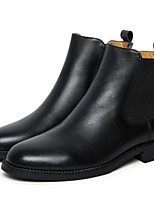 cheap -Women's Shoes Cowhide Spring Fall Comfort Bootie Boots Flat Heel Booties/Ankle Boots for Casual Black