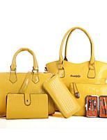preiswerte -Damen Taschen PU Bag Set 6 Stück Geldbörse Set Reißverschluss für Normal Frühling Herbst Schwarz Beige Gelb Fuchsia Wein