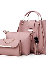 cheap -Women Bags PU Polyester Bag Set 3 Pcs Purse Set Zipper Tassel for Casual All Season Camel Gray Beige Blushing Pink Red