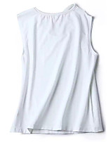 cheap -Women's Daily Casual Fall T-shirt,Solid Round Neck Sleeveless Cotton Opaque