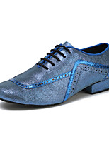 "cheap -Men's Latin Leather Sneaker Training Trim Low Heel Blue Black Under 1"" Customizable"