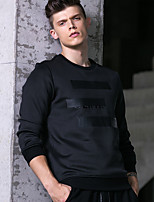 cheap -Men's Going out Sweatshirt Print Round Neck Stretchy Polyester Long Sleeve Fall/Autumn