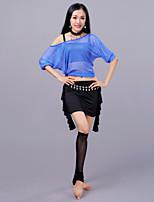 abordables -Danza del Vientre Accesorios Mujer Entrenamiento Rendimiento Algodón mercerizado Tul Fibra de Leche Volantes en Cascada Media Manga
