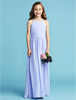 cheap -A-Line Princess Crew Neck Floor Length Chiffon Junior Bridesmaid Dress with Sash / Ribbon Pleats Side Draping by LAN TING BRIDE®
