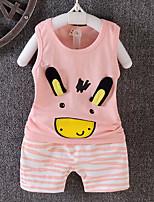 cheap -Baby Girls' Daily Striped Print Clothing Set,Cotton Summer Simple Sleeveless Blushing Pink