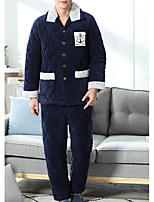 abordables -Costumes Pyjamas Homme Epais Polyester Bleu