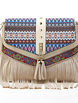 cheap -Women Bags PU Polyester Shoulder Bag Pattern / Print Zipper Tassel for Casual All Season Brown Red White Blue