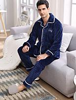 abordables -Costumes Pyjamas Homme,Mosaïque Moyen Polyester Bleu royal