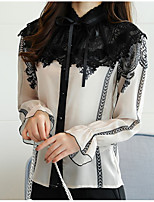 cheap -Women's Daily Casual Winter Fall Blouse,Color Block Stand Long Sleeves Acrylic Polyester