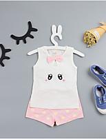 cheap -Baby Girls' Daily Print Clothing Set,Cotton Summer Simple Sleeveless White Blushing Pink Yellow