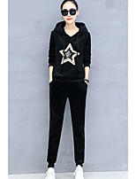 cheap -Women's Going out Simple Winter Fall Set Pant Suits,Geometric Hooded Long Sleeves Cotton