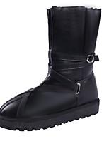 abordables -Mujer Zapatos PU Invierno Otoño Confort Botas de Moda Botas Tacón Plano Dedo redondo Mitad de Gemelo para Casual Negro