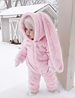 Недорогие -малыш Девочки 1 предмет Повседневные Хлопок Лён Бамбуковая ткань Акрил Однотонный Весна С короткими рукавами Простой Активный Розовый