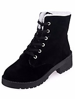 cheap -Women's Shoes Nubuck leather PU Spring Fall Comfort Combat Boots Boots Flat Heel Mid-Calf Boots for Casual Black