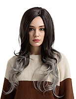 cheap -Synthetic Hair Wigs Natural Wave Side Part Ombre Hair Capless Natural Wigs Very Long Gray