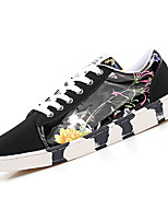 cheap -Women's Shoes PU Fall Comfort Sneakers Flat Heel Round Toe for Casual Black/White Blue Red Black