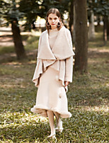 cheap -MASKED QUEEN Women's Daily Going out Simple Vintage Winter CoatSolid Cowl Long Sleeve Long Polyester
