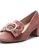 preiswerte -Damen Schuhe PU Frühling Herbst Komfort High Heels Blockabsatz Runde Zehe für Normal Schwarz Rosa