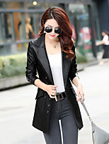 cheap -Women's Daily Street chic Winter Fall Leather Jacket,Solid Peter Pan Collar Long Sleeve Long Others