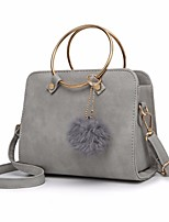 cheap -Women Bags PU Tote Feathers / Fur for Outdoor All Season Gray Blushing Pink Black