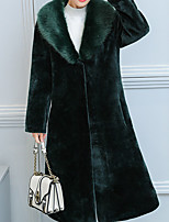 cheap -Women's Daily Casual Winter Fur Coat,Solid Peaked Lapel Long Sleeve Long Cotton