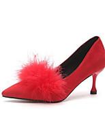 preiswerte -Damen Schuhe Nubukleder Frühling Herbst Komfort High Heels Stöckelabsatz für Normal Schwarz Rot Khaki