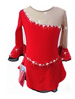 cheap -Figure Skating Dress Women's Girls' Ice Skating Dress Red Spandex Skating Wear Chinese Red Fashion Rhinestone 3/4 Length Sleeves Figure