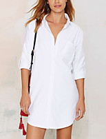 cheap -Women's Daily Holiday Casual Street chic Spring Fall Shirt,Solid Shirt Collar Long Sleeve Polyester
