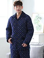 abordables -Costumes Pyjamas Homme,Points Polka Epais Coton Bleu
