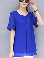 cheap -Women's Daily Going out Casual Street chic Spring Summer Blouse,Solid Round Neck Short Sleeve Polyester