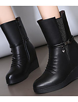 cheap -Women's Shoes Cowhide Winter Fall Comfort Fashion Boots Boots Wedge Heel Mid-Calf Boots for Casual Gray Black