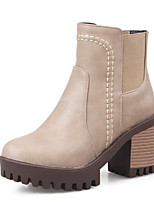 cheap -Women's Shoes PU Winter Fall Comfort Bootie Boots Chunky Heel Booties/Ankle Boots for Casual Almond Gray Black