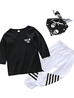 cheap -Baby Boys' Daily Print Clothing Set,Cotton Spring Casual ¾ Sleeve Black