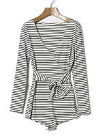 abordables -Mujer Camiseta - A Rayas Escote en Pico Pantalón
