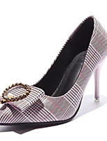 preiswerte -Damen Schuhe PU Frühling Herbst Komfort High Heels Stöckelabsatz Spitze Zehe für Normal Gold Silber Rosa