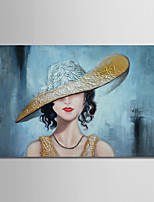 cheap -Hand-Painted Abstract People Horizontal, Comtemporary Modern Canvas Oil Painting Home Decoration One Panel
