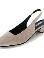 Недорогие -Жен. Обувь Нубук Замша Полиуретан Весна Осень Удобная обувь Обувь на каблуках На низком каблуке для Повседневные Черный Бежевый