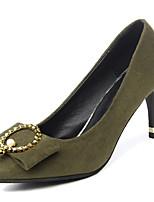 Недорогие -Обувь Резина Весна Осень Удобная обувь Обувь на каблуках На низком каблуке Заостренный носок для Черный Военно-зеленный Миндальный