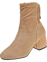 cheap -Women's Shoes PU Spring Fall Comfort Boots Low Heel for Outdoor Beige Black