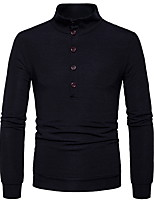 cheap -Men's Daily Casual Regular Pullover,Solid Round Neck Long Sleeves Nylon Wool Blend Winter Opaque Micro-elastic