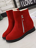 cheap -Women's Shoes Nubuck leather Spring Fall Comfort Bootie Boots Flat Heel for Casual Red Black