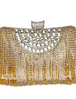 preiswerte -Damen Taschen PU Abendtasche Knöpfe Kristall Verzierung Quaste für Normal Alle Jahreszeiten Gold