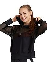 cheap -Women's Running Jacket Long Sleeves Breathability Sweatshirt Top for Running/Jogging Nylon Black White L M S