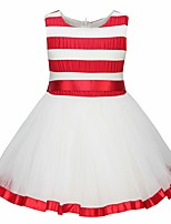 cheap -Girl's Daily Going out Solid Striped Print Dress,Cotton Spring, Fall, Winter, Summer All Seasons Sleeveless Cute Active Princess Red Blue