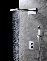 cheap -Contemporary Wall Mounted Waterfall Rain Shower Handshower Included Ceramic Valve Two Handles Three Holes Chrome, Shower Faucet