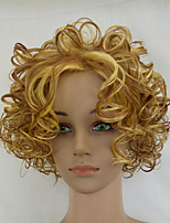 cheap -Women Blonde Wig Medium Length Synthetic Wigs Curly Heat Resistant Hair Middle Part