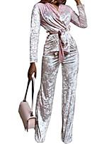 preiswerte -Damen Solide Freizeit Alltag Set Hose Anzüge,V-Ausschnitt Frühling Herbst Langärmelige Samt Unelastisch