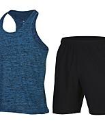 economico -Per uomo Canotta aderente Senza maniche Asciugatura rapida Pantaloncini /Cosciali per Corsa Yoga Misto cotone/sintetico Aderente Nero Blu